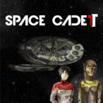 Space cadet logo, ship, and characters