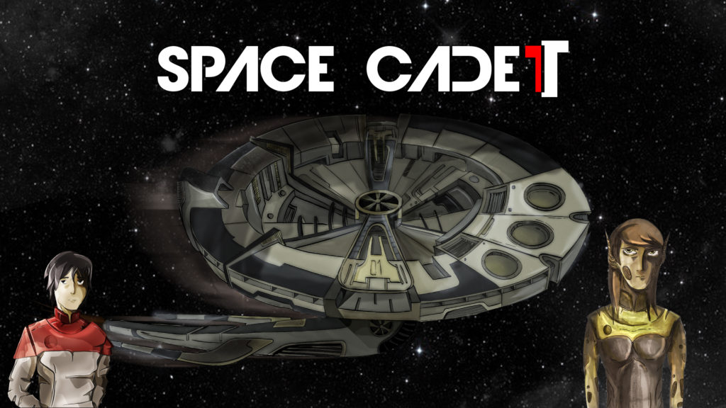 Space Cadet logo featuring Captain Robert Hill, the Avalon, and the stoic Trigma officer Alda.
